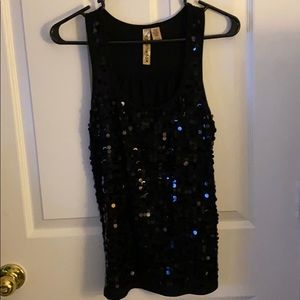 Cute black tank top with large black Sequins
